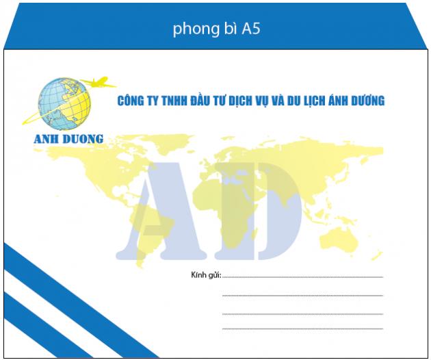 Mẫu in phong bì A5 cho khách hàng là công ty TNHH đầu tư dịch vụ và du lịch Ánh Dương