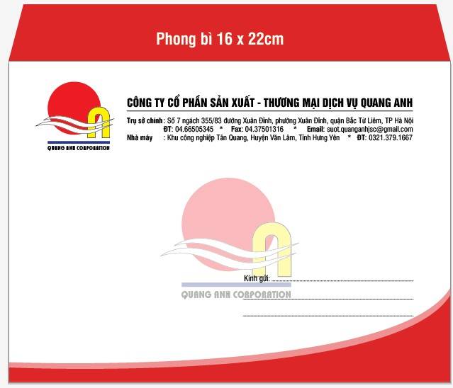 Mẫu in phong bì A5 với kích thước phong bì là 16cmx22cm cho công ty cổ phần sản xuất - thương mại dịch vụ Quang Anh