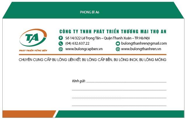 Mẫu in phong bì kích thước A6 cho công ty TNHH phát triển thương mại Thọ An