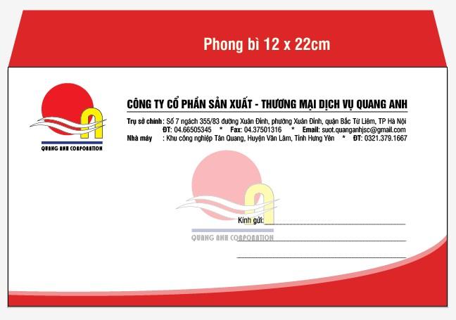 Mẫu in phong bì A6 với kích thước phong bì là 12cmx22cm cho công ty cổ phần sản xuất - thương mại dịch vụ Quang Anh