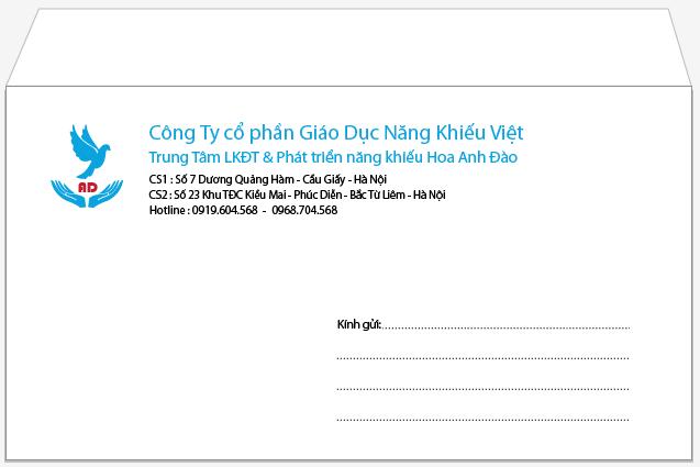 Mẫu in phong bì số lượng ít cho công ty cổ phần Giáo dục năng khiếu Việt