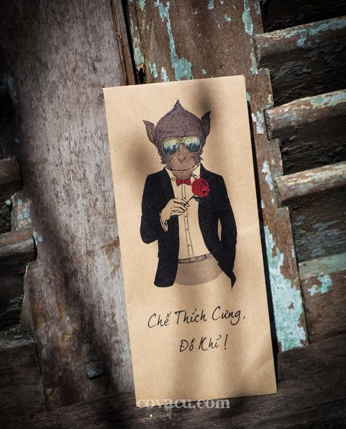 """Thêm một mẫu phong bao lì xì tết vui vui với slogan đáng yêu """"Chế thích cưng, đồ khỉ!"""""""