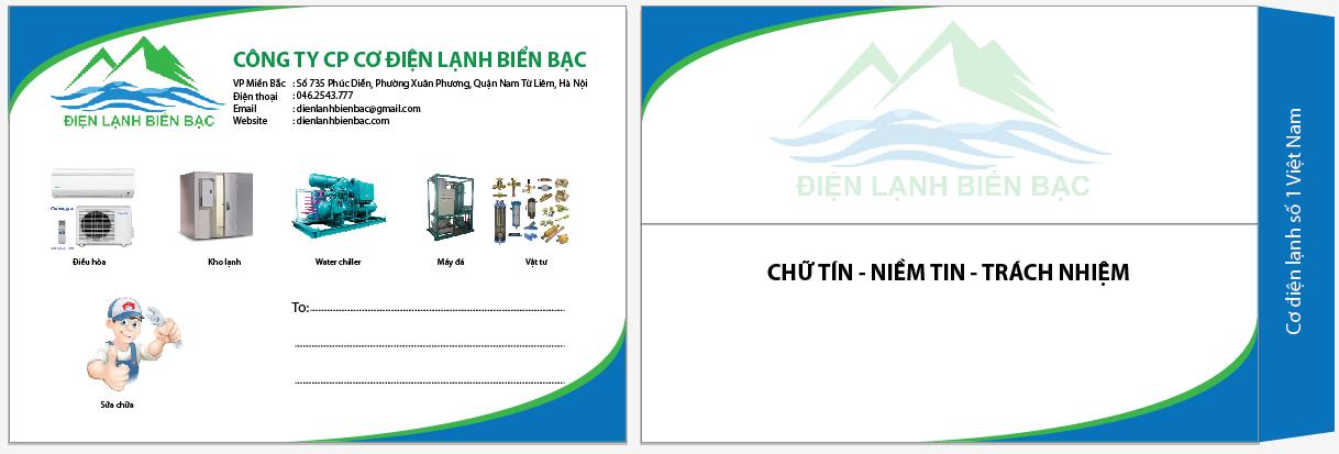 Mẫu phong bì thư công ty cơ điện lanh Biển Bạc