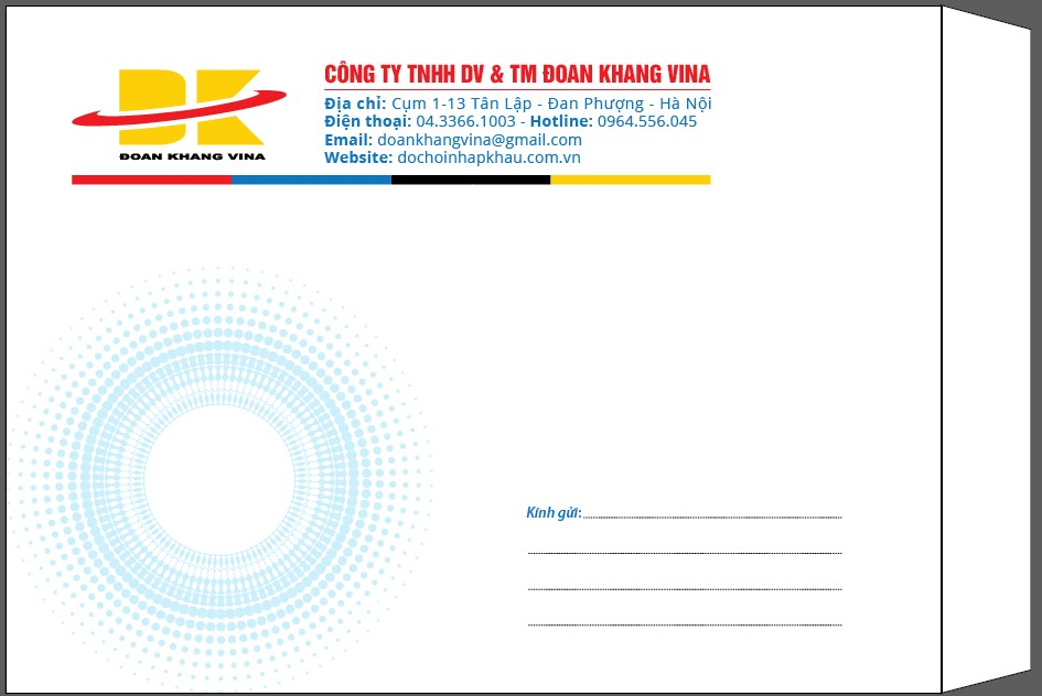 Mẫu in phong bì công ty TNHH dịch vụ & Thương mại Đoan Khang VINA. Kích thước phong bì thư khổ A4