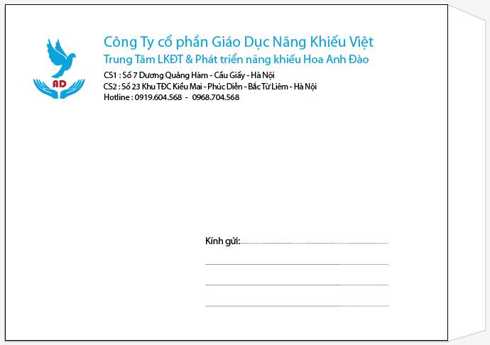 Mẫu in phong bì với số lượng ít cho công ty cổ phần giáo dục năng khiếu Việt. Phong bì có kích thước A4
