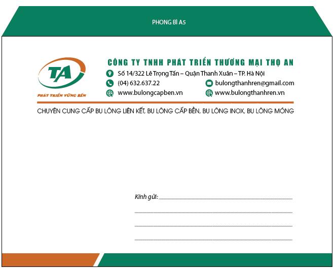 Mẫu phong bì A5 cho công ty TNHH phát triển thương mại Thọ An