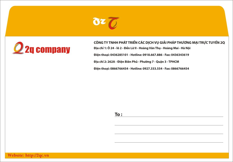 Mẫu in phong bì thư giá rẻ cho công ty TNHH phát triển các dịch vụ giải pháp thương mại trực tuyến 2Q